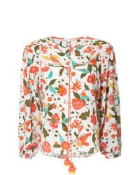 Blusa de manga larga con print de flores en multicolor de Figue