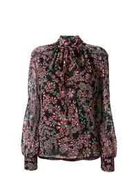 Blusa de manga larga con print de flores en multicolor de Giambattista Valli