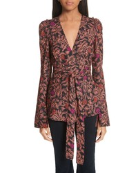 Blusa de manga larga con print de flores marrón