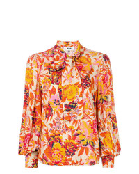 Blusa de manga larga con print de flores naranja de MSGM