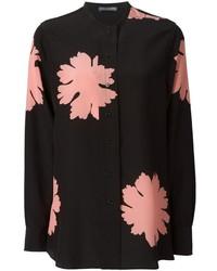 Blusa de manga larga con print de flores negra de Alexander McQueen