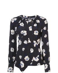 Blusa de manga larga con print de flores negra de Derek Lam 10 Crosby