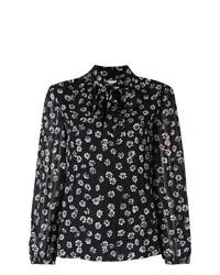 Blusa de manga larga con print de flores negra de Tory Burch