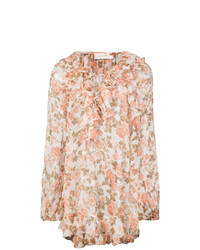Blusa de manga larga con print de flores rosada de Zimmermann