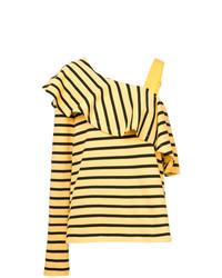 Blusa de manga larga con volante amarilla de Goen.J
