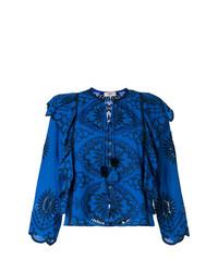 Blusa de manga larga con volante azul marino de Sea