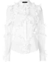 Blusa de manga larga con volante blanca de Alexander McQueen