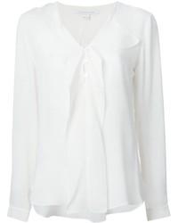 Blusa de manga larga con volante blanca de Diane von Furstenberg