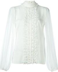 Blusa de manga larga con volante blanca de Dolce & Gabbana