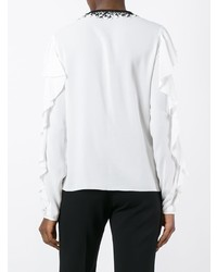 Blusa de manga larga con volante blanca de Giamba