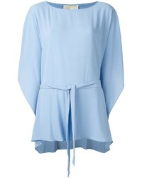 Blusa de manga larga con volante celeste de MICHAEL Michael Kors