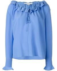 Blusa de manga larga con volante celeste de Stella McCartney