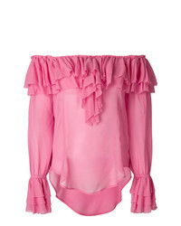 Blusa de manga larga con volante rosa