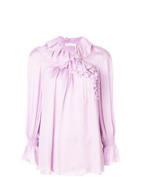 Blusa de manga larga con volante rosada de Chloé