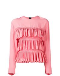Blusa de manga larga con volante rosada de Marni