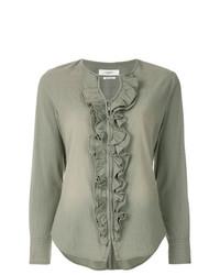 Blusa de manga larga con volante verde oliva de Isabel Marant Etoile