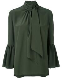 Blusa de manga larga con volante verde oscuro de Fendi