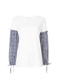Blusa de manga larga de cuadro vichy blanca de Clu