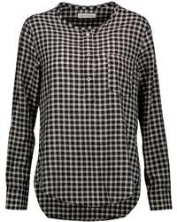 Blusa de manga larga de cuadro vichy en negro y blanco