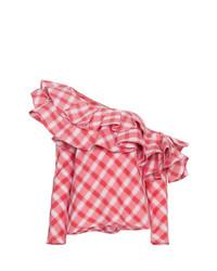Blusa de manga larga de cuadro vichy roja de Johanna Ortiz