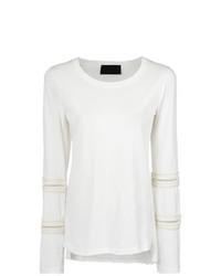 Blusa de manga larga de encaje blanca de Andrea Bogosian