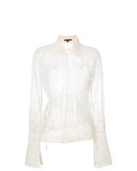 Blusa de manga larga de encaje blanca de Ann Demeulemeester