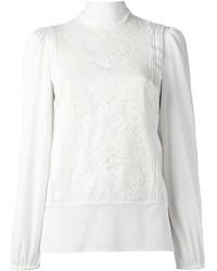 Blusa de manga larga de encaje blanca de Dolce & Gabbana