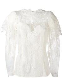Blusa de manga larga de encaje blanca de Lanvin