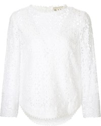 Blusa de manga larga de encaje blanca de Sea