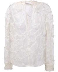 Blusa de manga larga de encaje blanca de Valentino