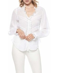 Blusa de manga larga de encaje con volante blanca