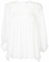 Blusa de manga larga de encaje con volante blanca de Chloé
