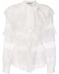 Blusa de manga larga de encaje con volante blanca de Ermanno Scervino