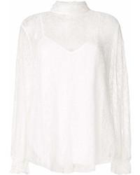 Blusa de manga larga de encaje con volante blanca de See by Chloe