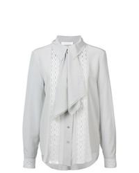 Blusa de manga larga de encaje con volante gris de Chloé