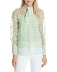 Blusa de manga larga de encaje en verde menta