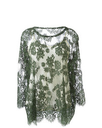Blusa de manga larga de encaje verde oliva de P.A.R.O.S.H.