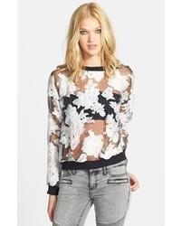Blusa de manga larga de gasa con print de flores en blanco y negro