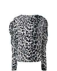 Blusa de manga larga de leopardo gris de Saint Laurent