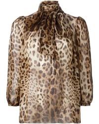 Blusa de manga larga de leopardo marrón claro de Dolce & Gabbana