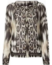 Blusa de manga larga de leopardo marrón claro de Roberto Cavalli