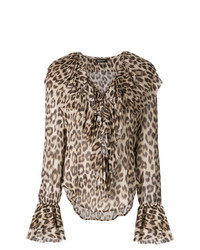 Blusa de manga larga de leopardo marrón claro de Twin-Set