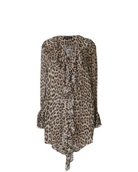Blusa de manga larga de leopardo marrón de Twin-Set