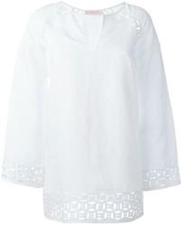 Blusa de Manga Larga de Lino Blanca de Tory Burch