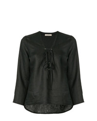 Blusa de manga larga de lino negra de Matin