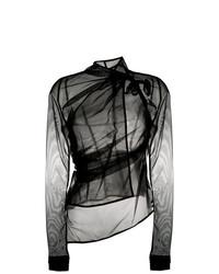 Blusa de manga larga de malla negra de Rick Owens Lilies
