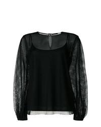 Blusa de manga larga de malla negra de Sport Max Code