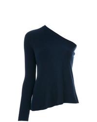 Blusa de manga larga de punto azul marino de Cashmere In Love