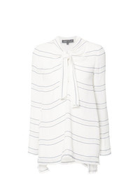 Blusa de manga larga de rayas horizontales blanca de Proenza Schouler