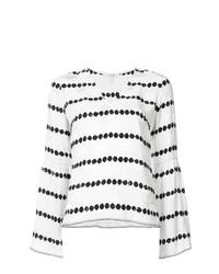 Blusa de manga larga de rayas horizontales en blanco y negro de Derek Lam 10 Crosby
